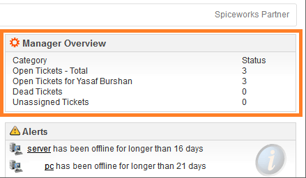 Installation and Configuration of the Spiceworks Manager Overview Plugin